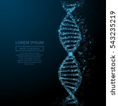 polygonal dna concept. vector... | Shutterstock .eps vector #543235219