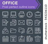set of thin line office icons...