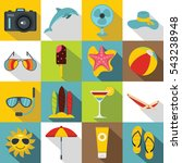 summer rest icons set. flat... | Shutterstock .eps vector #543238948