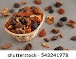 Dried Fruits In A Wicker Baske...