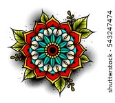 old school tattoo art flowers... | Shutterstock .eps vector #543247474