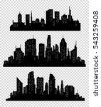 set of vector cities silhouette....