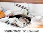dirty dishes in the sink to be...   Shutterstock . vector #543268360