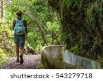 Tourist is walking along levada canal. Madeira island, Portugal - stock photo