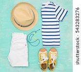 child's striped t shirt  denim...   Shutterstock . vector #543283276