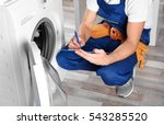 plumber with clipboard near... | Shutterstock . vector #543285520