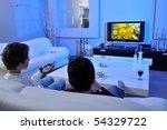 two boys watching underwater...   Shutterstock . vector #54329722