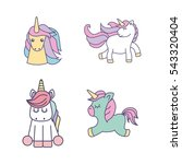 drawing cute set unicorns icon...   Shutterstock .eps vector #543320404