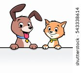 Stock vector cartoon dog cat for frame border element 543338614