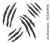 set of black claw scratches... | Shutterstock . vector #543363958