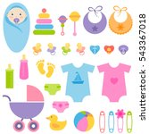 set of baby boy and girl... | Shutterstock . vector #543367018