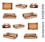 empty wooden crate set isolated ... | Shutterstock . vector #543381508