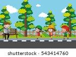 kids rollerskating on the... | Shutterstock .eps vector #543414760