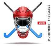 hockey field symbol with helmet ... | Shutterstock .eps vector #543416818
