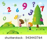 two kids catching numbers in... | Shutterstock .eps vector #543443764