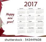 simple calendar for 2017.... | Shutterstock .eps vector #543449608