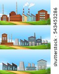 three scenes with factories in... | Shutterstock .eps vector #543453286