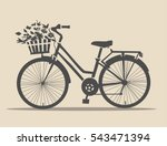 classic bike with flowers in... | Shutterstock .eps vector #543471394