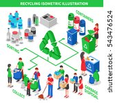 recycling isometric composition ... | Shutterstock .eps vector #543476524