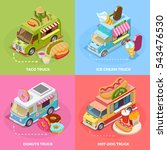street food trucks 4 isometric... | Shutterstock .eps vector #543476530