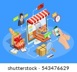 online shopping with smartphone ... | Shutterstock .eps vector #543476629