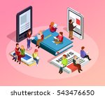 reading people isometric... | Shutterstock .eps vector #543476650