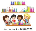 kids doing science experiment... | Shutterstock .eps vector #543480970
