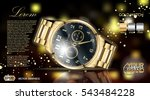 gold watch mock up. exclusive... | Shutterstock .eps vector #543484228