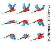 animation parrot flies. sprite... | Shutterstock .eps vector #543484429