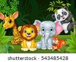 cartoon wild animal in the... | Shutterstock . vector #543485428