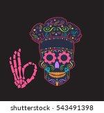 kitchen chef skull vector... | Shutterstock .eps vector #543491398