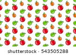 Vector Pattern Of Apples In A...