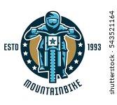 logo mountain bike. a cyclist... | Shutterstock .eps vector #543521164