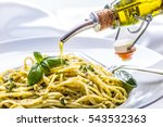 spaghetti with homemade pesto... | Shutterstock . vector #543532363