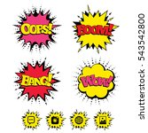 comic boom  wow  oops sound... | Shutterstock .eps vector #543542800