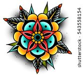 old school tattoo art flowers... | Shutterstock .eps vector #543558154