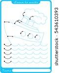 boat  sea  waves. preschool...   Shutterstock .eps vector #543610393