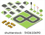 set isometric road and vector... | Shutterstock .eps vector #543610690