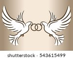 two doves. stylized pigeons and ... | Shutterstock .eps vector #543615499