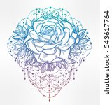 decorative rose flower with... | Shutterstock .eps vector #543617764