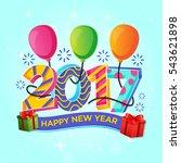 modern happy new year 2017... | Shutterstock .eps vector #543621898