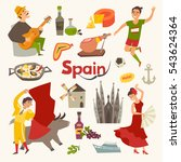spain traditional symbols set... | Shutterstock .eps vector #543624364