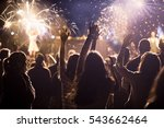 cheering crowd and fireworks  ... | Shutterstock . vector #543662464