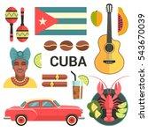 cuba poster. vector icons... | Shutterstock .eps vector #543670039