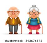 happy cute old man lady... | Shutterstock .eps vector #543676573