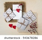 shot of handmade gift boxes... | Shutterstock . vector #543678286
