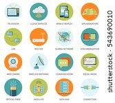 telecommunication network... | Shutterstock . vector #543690010