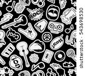 black and white fun seamless... | Shutterstock .eps vector #543698530