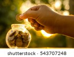 savings money coins with sun... | Shutterstock . vector #543707248