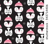 seamless penguin bird pattern... | Shutterstock .eps vector #543714406